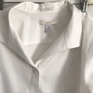 White cotton tailored long sleeve shirt